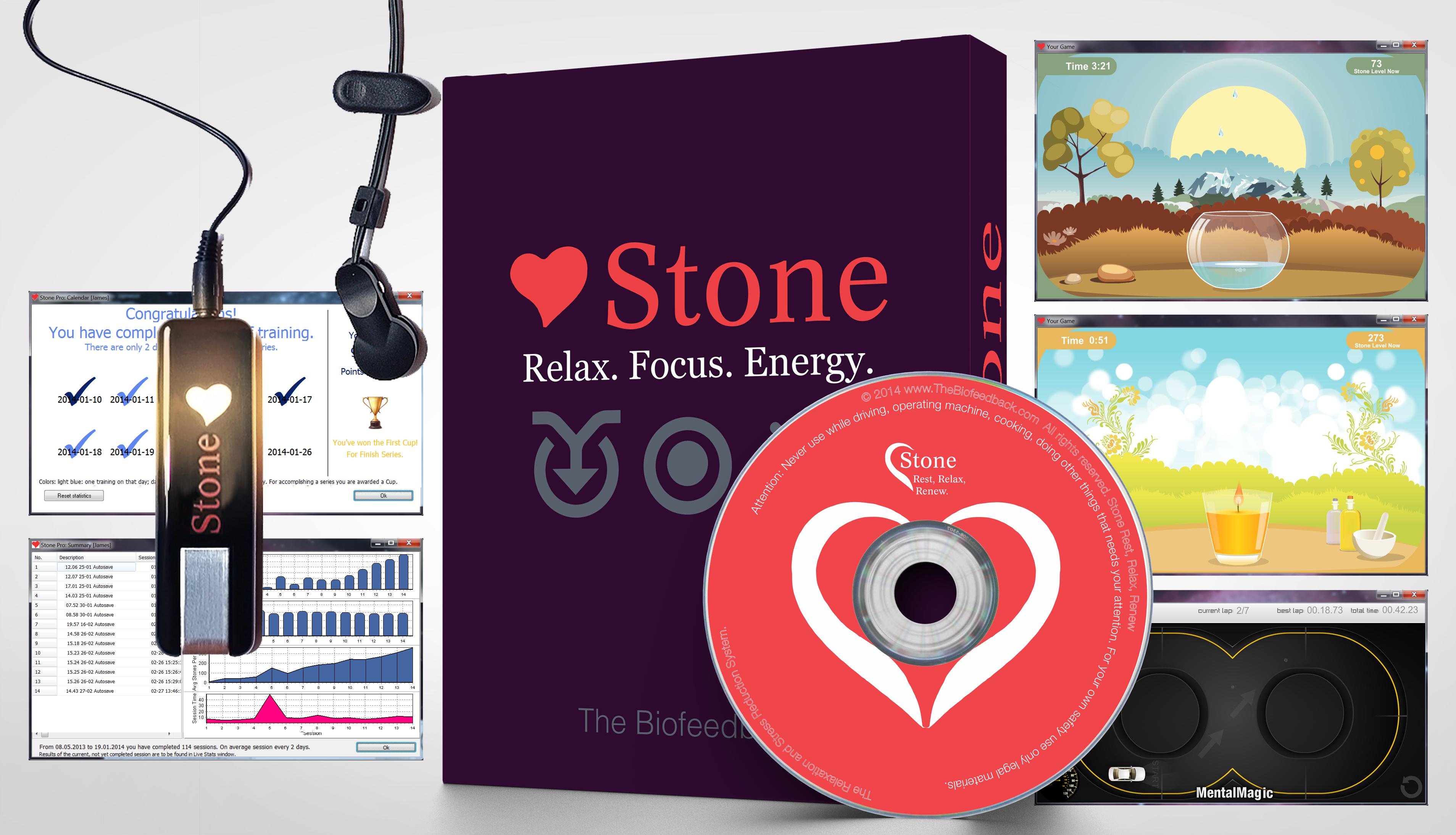 Stone Full Set: Biofeedback Device, Sensor, Games